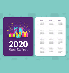 Calendar 2020 happy new year monthly calendar vector