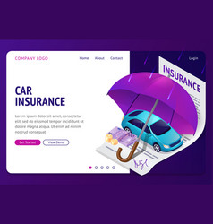 car insurance isometric landing auto protection vector image