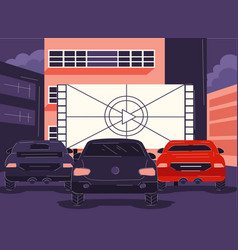 cars parked in front a cinema or lightbox vector image