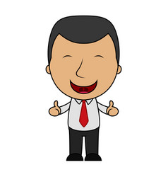 cartoon happy businessman making thumbs up sign vector image