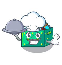 Chef with food kids toys in the cartoon box vector