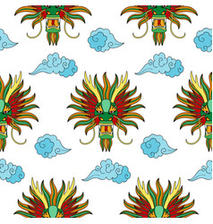 chinese dragon head seamless pattern vector image