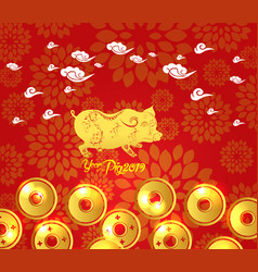 Chinese new year 2019 plum blossom and coin vector