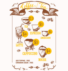 coffee drinks ink pen sketches isolated on vector image
