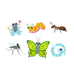 collection cute funny cartoon insects set fly vector image