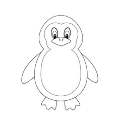 colorless funny cartoon penguin vector image