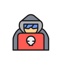 Computer hacker with laptop spy agent flat color vector