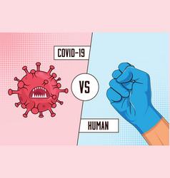 Covid-19 vs human fight coronavirus concept vector