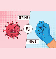 Covid-19 vs human fight coronavirus concept with vector