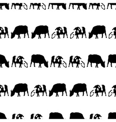 cow and bull black shadows silhouette in lines vector image