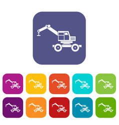 Crane truck icons set flat vector
