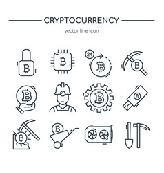 cryptocurrency mining icon collection line art vector image