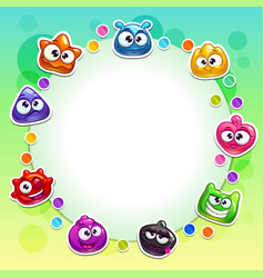 cute background with funny colorful jelly vector image