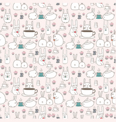 cute bunny seamless pattern background vector image