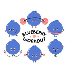 Cute funny blueberry berry make gym set collection vector