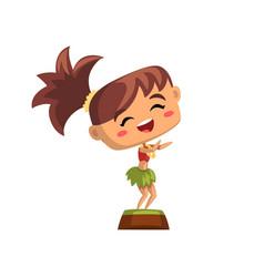cute smiling hawaiian girl dancing hula vector image