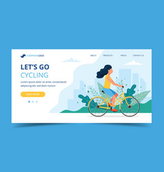 cycling landing page woman riding bicycle in the vector image