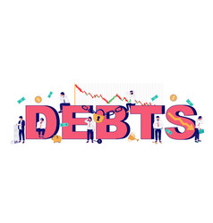 Debts typography banner template flat vector
