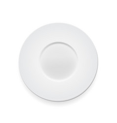 empty white round plate on whte background for vector image