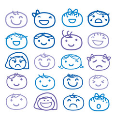 Face kids draw emotion feeling icon vector