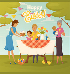 Family easter dinner flat poster vector