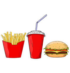 fast food set - cheeseburger french fries and vector image