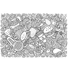 fastfood hand drawn cartoon doodles vector image