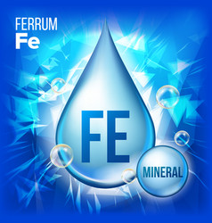 Fe ferrum mineral blue drop icon vitamin vector
