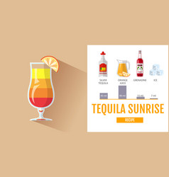 Flat style cocktail tequila sunrise menu vector
