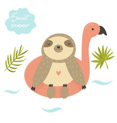 funny swimming sloth summertime design vector image