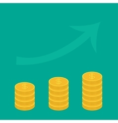 Gold coin stacks icon in shape of diagram Upward vector image