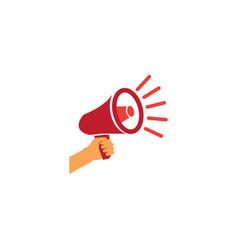 hand megaphone or loudspeaker red amplifier logo vector image