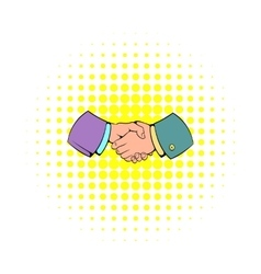 Handshake icon in comics style vector image