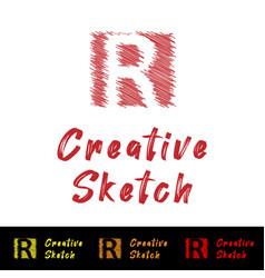 Handwritten r logos creative letters vector
