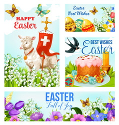 happy easter cross and eggs cards vector image