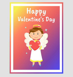 Happy valentines day greeting card with angel vector