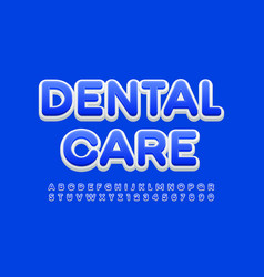 health sign dental care blue and white alphabet vector image