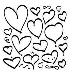 heart hand drawn sketch doodle line love vector image