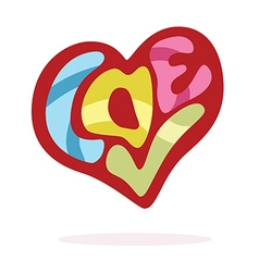 heart love hand lettering vector image