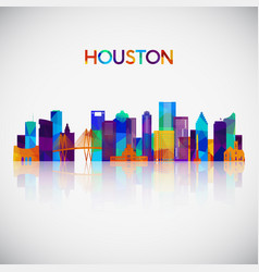 houston skyline silhouette in colorful geometric vector image