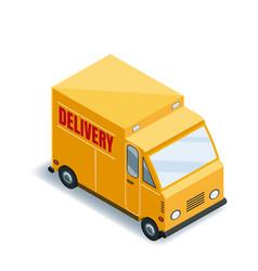 isometric express cargo truck transportation vector image