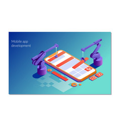 landing page template of mobile app development vector image