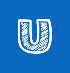 Letter u logo on blueprint paper background vector