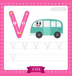 Letter v uppercase tracing practice worksheet van vector