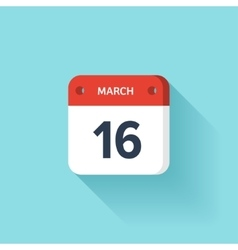 March 16 Isometric Calendar Icon With Shadow vector image