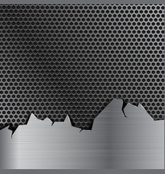 Metal perforated background with stainless steel vector