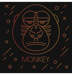 Monkey Lines Yellow vector