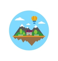 Mountains and building in circle vector image vector image