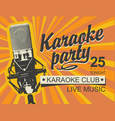 music banner for karaoke party with microphone vector image