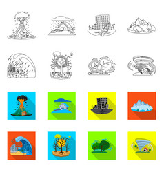 Natural and disaster icon vector